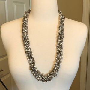 Neiman Marcus chic crystal & pearl necklace